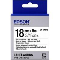 Ruban d'étiquettes Epson LabelWorks LK-5WBW 18 mm Largeur x 9 m Longueur - C53S655012