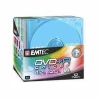 DVD+R Emtec 4,7GB 16X Pack de 10 - Couleur Ancien Code 360454NEW - EKOVPR471016LCOL