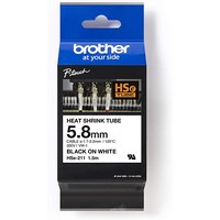 HSE211 BROTHER 5.8MM BLK ON WHT HEAT SHRINK TAPE  - HSE211